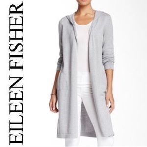 Eileen Fisher | Gray Long Hooded Cardigan Sweater